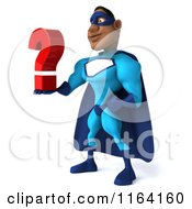 Clipart Of A 3d Black Super Hero Man In A Blue Costume Holding A Question Mark 2 Royalty Free CGI Illustration