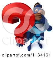 Clipart Of A 3d Black Super Hero Man In A Blue Costume Holding A Question Mark 3 Royalty Free CGI Illustration