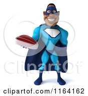 Clipart Of A 3d Black Super Hero Man In A Blue Costume Holding Steak 3 Royalty Free CGI Illustration