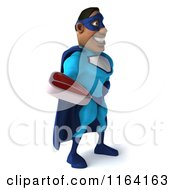 Clipart Of A 3d Black Super Hero Man In A Blue Costume Holding Steak 2 Royalty Free CGI Illustration