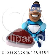 Clipart Of A 3d Black Super Hero Man In A Blue Costume Holding Steak Royalty Free CGI Illustration