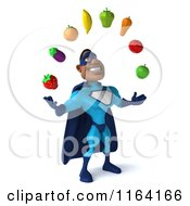 Clipart Of A 3d Black Super Hero Man In A Blue Costume Juggling Produce 2 Royalty Free CGI Illustration
