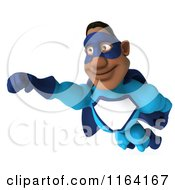 Clipart Of A 3d Flying Black Super Hero Man In A Blue Costume 2 Royalty Free CGI Illustration
