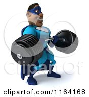 Clipart Of A 3d Black Super Hero Man In A Blue Costume Lifting A Heavy Barbell 2 Royalty Free CGI Illustration