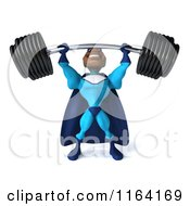 Clipart Of A 3d Black Super Hero Man In A Blue Costume Lifting A Heavy Barbell Royalty Free CGI Illustration