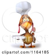 Clipart Of A 3d Chef Chicken Holding A Plate Royalty Free CGI Illustration