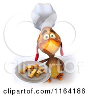3d Chef Chicken Holding A Plate Of Fries