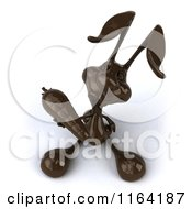Clipart Of A 3d Dark Chocolate Easter Bunny Holding A Carrot Royalty Free CGI Illustration by Julos