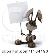 Clipart Of A 3d Dark Chocolate Easter Bunny Holding A Sign Royalty Free CGI Illustration by Julos