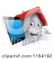 3d White Clay Home Holding Out A Cell Phone 3
