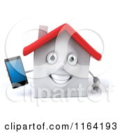 3d White Clay Home Holding Out A Cell Phone 2