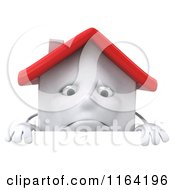 Clipart Of A 3d Sad White Clay Home Over A Sign Royalty Free CGI Illustration