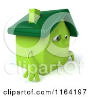 Clipart Of A 3d Sad Green House Facing Right Royalty Free CGI Illustration