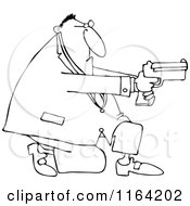Cartoon Of An Outlined Kneeling Man Using A Pistol Royalty Free Vector Clipart