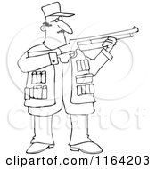 Cartoon Of An Outlined Hunting Man Using A Shotgun Royalty Free Vector Clipart