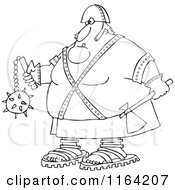 Cartoon Of An Outlined Executioner Holding An Axe And Flail Royalty Free Vector Clipart