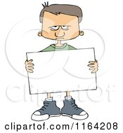 Cartoon Of An Angry Boy Holding A Sign Royalty Free Vector Clipart