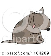 Cartoon Of A Dog Sitting And Glancing Upwards Royalty Free Vector Clipart
