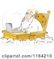 Cartoon Of Jesus Working On A Laptop At A Desk In Heaven Royalty Free Vector Clipart