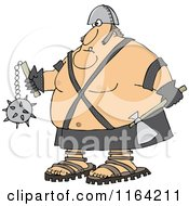 Cartoon Of An Executioner Holding An Axe And Flail Royalty Free Vector Clipart