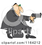 Cartoon Of A Kneeling Man Using A Pistol Royalty Free Vector Clipart by djart