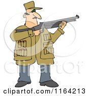 Cartoon Of A Hunting Man Using A Shotgun Royalty Free Vector Clipart