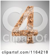 Clipart Of A 3d Orange Number 4 Composed Of Fours On Gray Royalty Free CGI Illustration