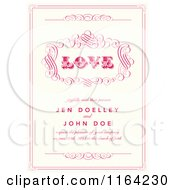 Clipart Of A Distressed Beige Wedding Invitation With Love Pink Swirls And Sample Text Royalty Free Vector Illustration