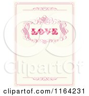 Clipart Of A Distressed Beige Wedding Invitation With Love Pink Swirls And Copyspace Royalty Free Vector Illustration