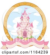Cartoon Of A Fairy Tale Castle In A Gold Frame With A Blank Banner Royalty Free Vector Clipart
