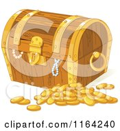 Cartoon Of A Wooden Treasure Chest With Pearls And Gold Coins Royalty Free Vector Clipart by Pushkin