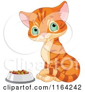 Cartoon Of A Cute Ginger Kitten Sitting By A Bowl Of Food Royalty Free Vector Clipart