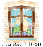 Cartoon Of A View Through A Window On A Bedroom Royalty Free Vector Clipart