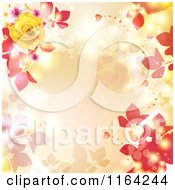 Floral Background With Roses Hearts And Copyspace