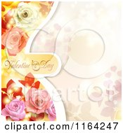 Clipart Of A Valentines Day Background With Text Hearts Roses And Copyspace 4 Royalty Free Vector Illustration