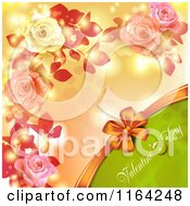 Clipart Of A Valentines Day Background With Text Hearts Roses And Copyspace 2 Royalty Free Vector Illustration