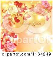 Clipart Of A Valentines Day Background With Text Hearts Roses And Copyspace Royalty Free Vector Illustration