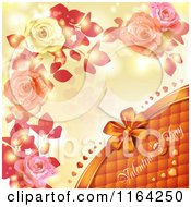 Clipart Of A Valentines Day Background With Text Hearts Roses And Copyspace 3 Royalty Free Vector Illustration