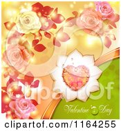 Clipart Of A Valentines Day Background With Text Hearts And Roses 2 Royalty Free Vector Illustration