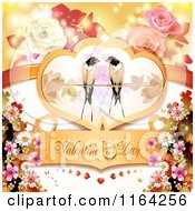 Clipart Of A Valentines Day Background With Text Love Birds And Roses Royalty Free Vector Illustration