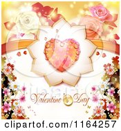 Clipart Of A Valentines Day Background With Text A Heart And Roses Royalty Free Vector Illustration
