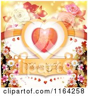 Clipart Of A Valentines Day Background With Text A Heart And Roses 2 Royalty Free Vector Illustration