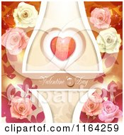 Clipart Of A Valentines Day Background With Text A Heart And Roses 5 Royalty Free Vector Illustration