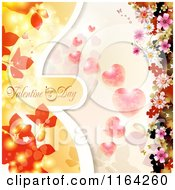 Clipart Of A Valentines Day Background With Text Hearts And Blossoms Royalty Free Vector Illustration