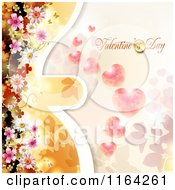 Clipart Of A Valentines Day Background With Text Hearts And Blossoms 2 Royalty Free Vector Illustration