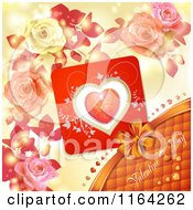 Clipart Of A Valentines Day Background With Text A Heart And Roses 3 Royalty Free Vector Illustration