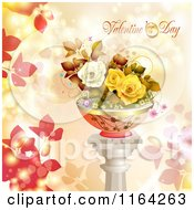Clipart Of A Valentines Day Background With Text And Potted Roses On A Pillar Royalty Free Vector Illustration