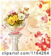 Clipart Of A Valentines Day Background With Text And Potted Roses On A Pillar 2 Royalty Free Vector Illustration