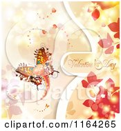 Clipart Of A Valentines Day Background With Text Hearts A Butterfly And Foliage Royalty Free Vector Illustration
