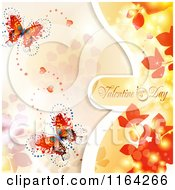 Clipart Of A Valentines Day Background With Text Hearts Butterflies And Foliage Royalty Free Vector Illustration